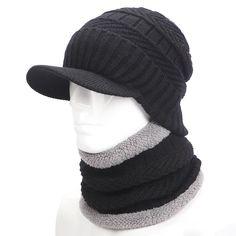 75d6cc11 warmer winter hat knit cap scarf cap Winter Hats For men knitted hat men  Beanie Knit Hat Skullies Beanies Men Beanies Cap MY