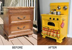 My mind is blown! Playroom stove made from an old wooden nightstand.