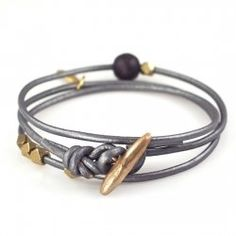 Cool men's leather wrap bracelet