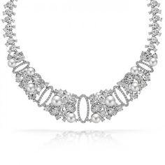 Classic beauty and impeccable taste combine in our pearl bridal collar necklace. This cubic zirconia tennis necklace evokes a feeling of sophistication and a style all its own and is a gorgeous piece of estate jewelry. Pearl Necklace Wedding, Sapphire Necklace, Bridal Necklace, Bridal Jewelry, Pearl Bridal, Sapphire Jewelry, Blue Necklace, Bling Jewelry, Pearl Jewelry