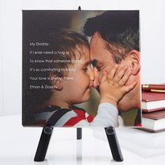 Aw this is so stinkin' cute! It's a Personalized Tabletop Canvas Print that you can personalize with your own photo and your own words! It's the perfect Father's Day gift!