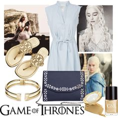 """Game of Thrones - Daenerys Targaryen"" by busta on Polyvore Featuring the Urban Story clutch from BÙSTA #busta #bustabags #leatherclutch #leather #streetstyle #perforated #blue #embroidery #folklore #handmade #clutch #metalstrap #metalchain #gold #blue #Emilia #Clarke"