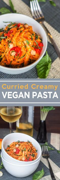 This pasta makes for the perfect weeknight meatless meal. Super velvety and creamy vegan pasta with a hint of curry! Made with chickpeas, tomatoes and pumpkin. (30 minute meal)