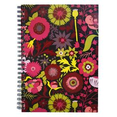 A5 size spiral bound notebook with folk floral by natalieasingh, $12.00