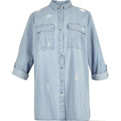River Island RI Plus light denim distressed shirt ($64) ❤ liked on Polyvore featuring tops, shirts, women, button front shirt, ripped shirt, denim top, plus size blue shirt and blue top