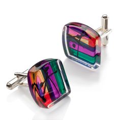 Brighten+up+your+outfit+with+these+colourful+cufflinks+inspired+by+Barbara+Rae+RA's+vibrant+paintings.
