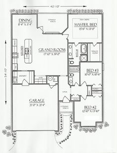 First Floor Plan of Cottage Country European House Plan 74702 1593 sq FT. Cutest little house - perfect Garage House Plans, Dream House Plans, Small House Plans, House Floor Plans, Car Garage, Cottage Plan, Cottage House, House Bath, Cottage Ideas