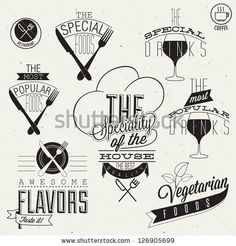 Vinate style restaurant menu designs and illustrations. Calligraphic an typographic style titles and symbols for restaurant menu design. Hand lettering style typographic symbols for restaurant. Vector