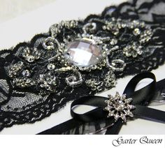 Black Lace Bridal Garter Set Gothic Wedding Goth by GarterQueen, $39.99