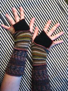 ArM WaRmErS - Recycled - earth toned stripeys