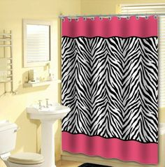 13pc Pink Zebra Shower Curtain Black White with 12 Animal Print Hooks OVERSTOCK SALE $9.72 (save $8.77)