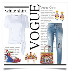 """""""White Shirt"""" by conch-lady ❤ liked on Polyvore featuring Dolce&Gabbana and WardrobeStaples"""