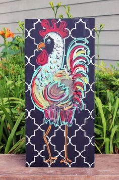 "Items similar to Wooden Signs, Wood Signs, Kitchen Art, Wood Art, Distressed Wood Sign Art: ""Red and Green Rooster"" with Patterned background on Etsy Chicken Painting, Chicken Art, Chicken Houses, Distressed Wood Signs, Paint And Sip, Pallet Art, Pallet Signs, Galo, How To Distress Wood"