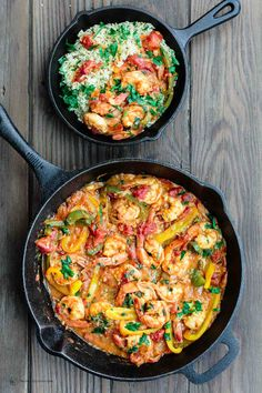 Easy Shrimp Recipe | The Mediterranean Dish. Easy Mediterranean skillet shrimp, packed with flavor and cooked in a light olive oil and citrus sauce with shallots, bell peppers and more! 25 minutes start-to-finish. See the recipe on TheMediterraneanDish.com