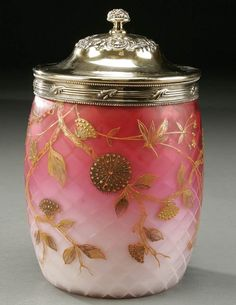 1327: A FINE VICTORIAN MOTHER OF PEARL BISCUIT JAR, GLA : Lot 1327