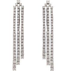 Sterling Silver Cubic Zirconia Long Three Row Cascade Tennis Earrings