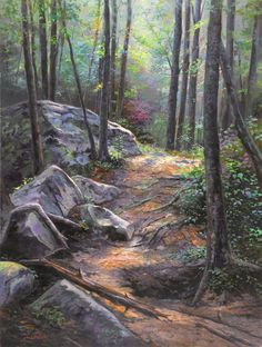 Joshua's Path by Jack Paluh.  Being in the woods is truly magnificent and solace to the mind and soul.  The visual inspiration for this piece is near Hector Falls in the Allegheny Forest. The inspiration for the name of this piece comes from my son, Joshua, who stumbled upon this gem of a path. Forest Path, Nature Artwork, Natural World, Paths, Woods, Gem, Scenery, Paintings, Artist