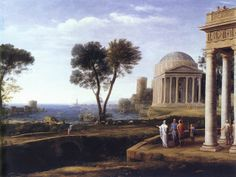 Claude Lorrain pastoral landscapes, a XVII century painter (c. 1600 – 23 November 1682) very appreciated throughout the XVII & XVIII century for his paintings with ruins & follies