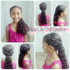Real Life Doll Creations, hairstyles for little girls, braids, easy hairstyles, quick hairstyles for curly hair, little girls hairstyles, Hair by A. MCKNIGHT.