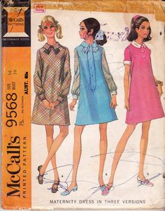 McCall's 9568 MOD Maternity Dress Pattern 60s vintage sewing pattern Size 14 Bust 36 inches