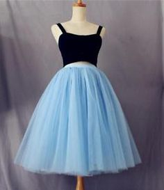 Sky Blue Lace Tulle Skirt 7 Layer High Waisted Skirts Womens Tutu Pleated Skirt