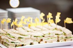 """flags on toothpicks for sandwiches  """"Bb is for BABY"""" {& BEE-utiful Baby Shower!} // Hostess with the Mostess®"""