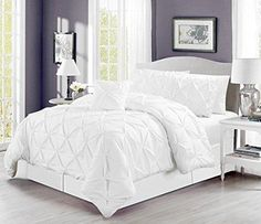 "4 Pieces Solid White Pinch Pleat Duvet Cover Set KING Size (104""X92"") Bedding with accent pillow"