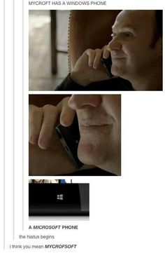 And Sherlock uses an iPhone. There are prob some great debates over this in the Holmes family. Sherlock Bbc, Sherlock Fandom, Jim Moriarty, Sherlock Quotes, Watson Sherlock, Supernatural Fandom, Sherlock Tumblr, Benedict Sherlock, Supernatural Quotes