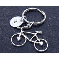 Initial Bicycle Keyring Hand Stamped Keyring Bike Keyring