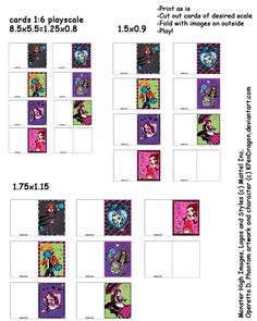 MH: Printable Playscale Cards by KPenDragon on DeviantArt Ag Doll Crafts, Doll House Crafts, Printable Crafts, Printables, Homemade Dolls, Mini Craft, Doll Food, Barbie House, Monster High Dolls