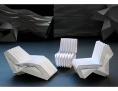 May 2020 - A single sheet transforms into a chair by simple folding - no cutting or assembly. Unlike conventional chairs, it is not anthropomorphic - no toes, no legs, no back. Instead it is a single abstract structure. Cardboard Chair, Cardboard Crafts, Paper Crafts, Bed Origami, Artist Chair, Origami Furniture, Paving Pattern, Used Chairs, Retail Store Design