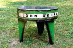 Three Leg Green and Yellow Milking Stool Table