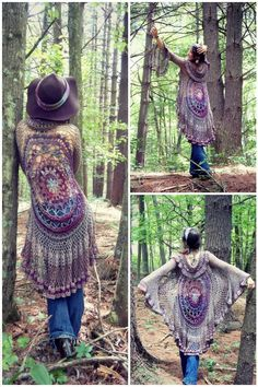 Crochet Circle Mandala Motif Sweater - 12 Free Crochet Patterns for Circular Vest Jacket | 101 Crochet