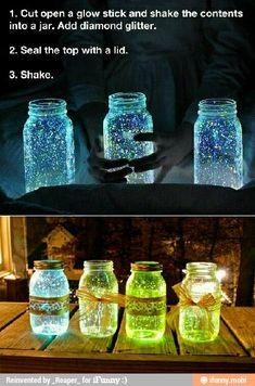 Glow Stick Mason Jars :)