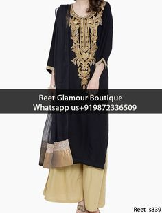 Wonderful Black Embroidered Plazzo Suit Product Code : Reet_s339 To Order, Call/Whats app On +919872336509 We Offer Huge Variety Of Punjabi Suits, Anarkali Suits, Lehenga Choli, Bridal Suits,Sari, Gowns Etc .We Can Also Design Any Suit Of Your Own Design And Any Color Combination