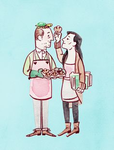 """""""Elementary: Holmes and Watson Bake Muffins""""  - art by ghostbees"""