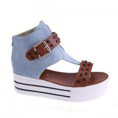 $16.02 Stylish Rivets and Platform Design Color Block Women's Sandals