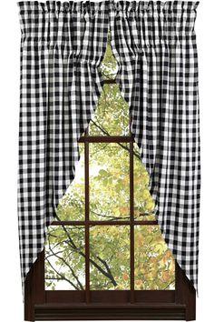 Buffalo Black & White Prairie Curtains from www.vhcbrands.com