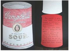 """End of the year activities:  FREE end of the year """"souper-duper"""" writing prompt craft.  Their photo is on the front of the soup can, which flips up. Children tell why they are going to have a """"soup-er"""" summer, or why they had a """"soup-er"""" year in school.  They could also make one for your next year's students, as a back-to-school bulletin board."""