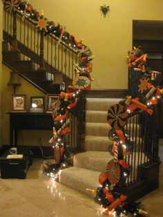 Angela at Prettify Your Life Blog decorates her staircase for Halloween. Stunning!