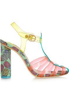 Sophia Webster|Rosa vinyl and printed satin sandals|NET-A-PORTER.COM