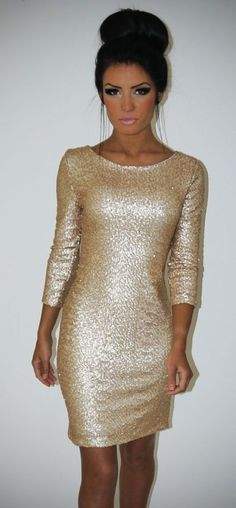 Emrisia LUXE Pale Gold Sequin Sleeved Dress