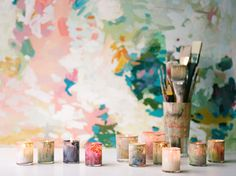 diy | painted candleholders | colorful painterly wedding ideas | via: once wed