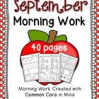 September morning work for Kindergarten! 40 total pages of reading and math practice. Skills include: count & total ten frames, number/letter tracing & writing, beginning sounds, differentiate between letter and number, and MORE!