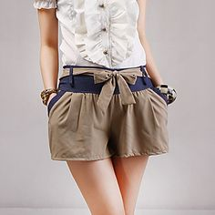 Womens Color Block Pants with Belted Detail Summer Outfits, Girl Outfits, Cute Outfits, Chor, Hot Pants, Short Girls, Pattern Fashion, Patterned Shorts, My Outfit