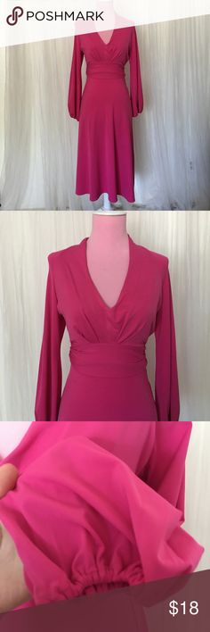 """Moda international magenta dress Slim fitting. Ties around the waist. Cuffs are puffy with elastic. 93% polyester and 7% spandex. Pink with hint of purple. Approx. 44""""  ******offers on bundles are considered Moda International Dresses"""