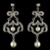 Antique Rhodium Silver Clear Rhinestone & Diamond White Pearl Chandelier Earrings 7863