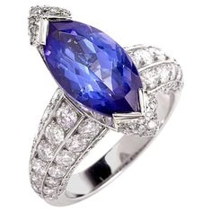 French 8.27 carat Marquise Tanzanite Diamond Platinum Ring | From a unique collection of vintage engagement rings at https://www.1stdibs.com/jewelry/rings/engagement-rings/
