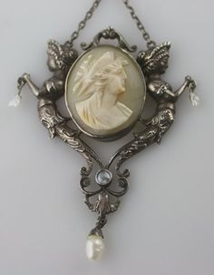 Vintage Art Nouveau Sterling Silver Mermaid carved shell cameo necklace pearl