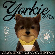 Yorkshire Terrier Yorkie Coffee Company original graphic art on gallery wrapped canvas by stephen fowler on Etsy, $74.00